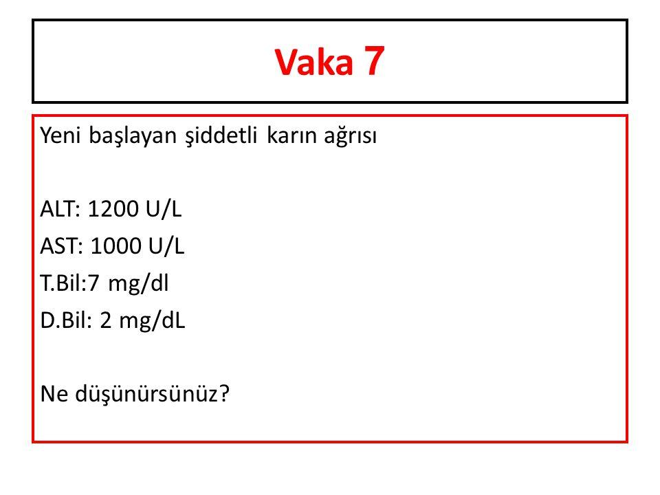 Vaka 7 Yeni başlayan şiddetli karın ağrısı ALT: 1200 U/L AST: 1000 U/L T.Bil:7 mg/dl D.Bil: 2 mg/dL Ne düşünürsünüz.