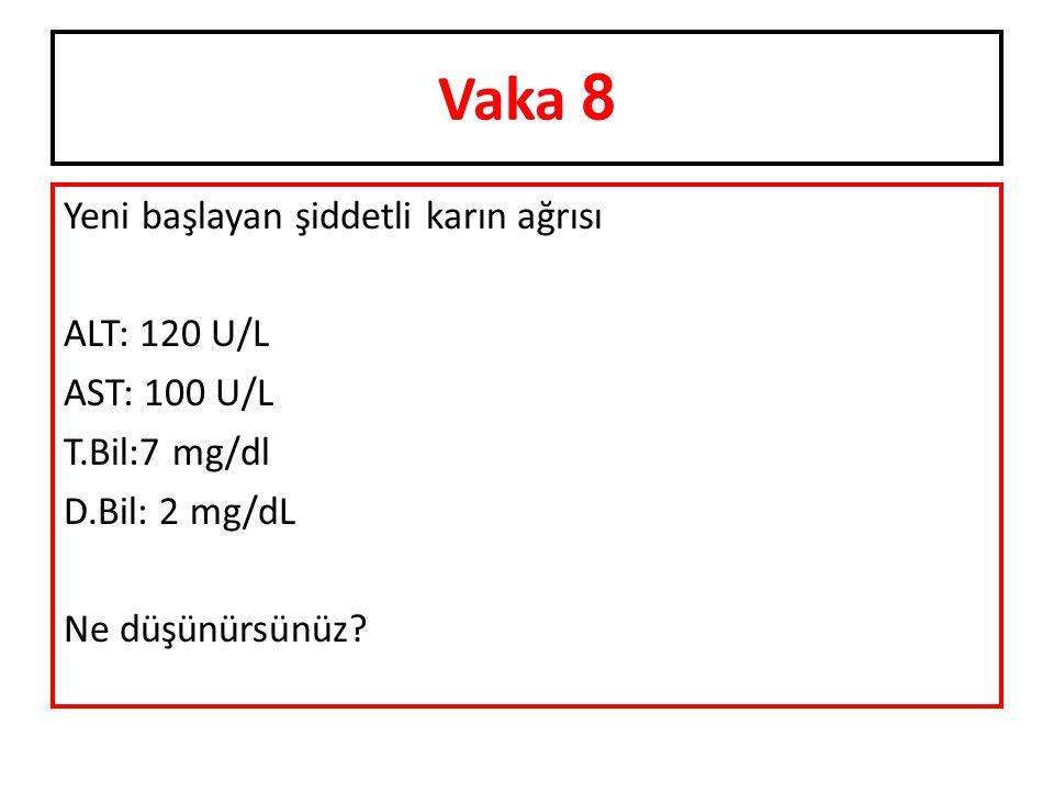 Vaka 8 Yeni başlayan şiddetli karın ağrısı ALT: 120 U/L AST: 100 U/L T.Bil:7 mg/dl D.Bil: 2 mg/dL Ne düşünürsünüz.