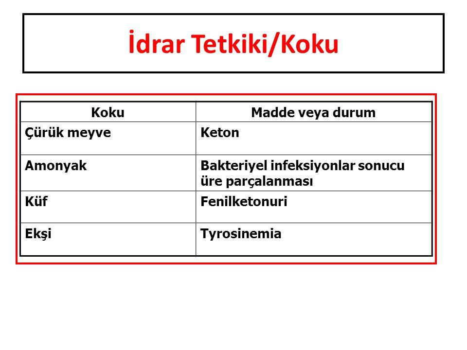 İdrar Tetkiki/Koku Koku Madde veya durum Çürük meyve Keton Amonyak