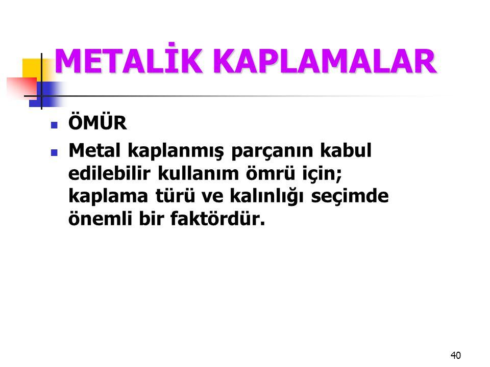 METALİK KAPLAMALAR ÖMÜR