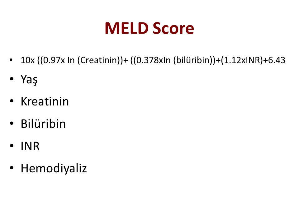 MELD Score Yaş Kreatinin Bilüribin INR Hemodiyaliz