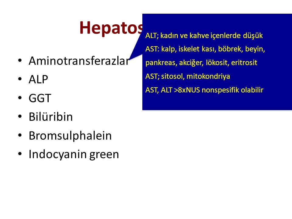 Hepatosit Hasarı Aminotransferazlar ALP GGT Bilüribin Bromsulphalein