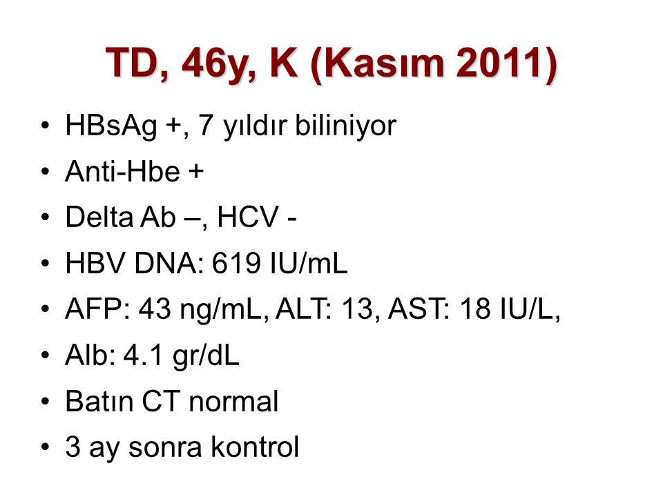 TD, 46y, K (Kasım 2011) HBsAg +, 7 yıldır biliniyor Anti-Hbe +