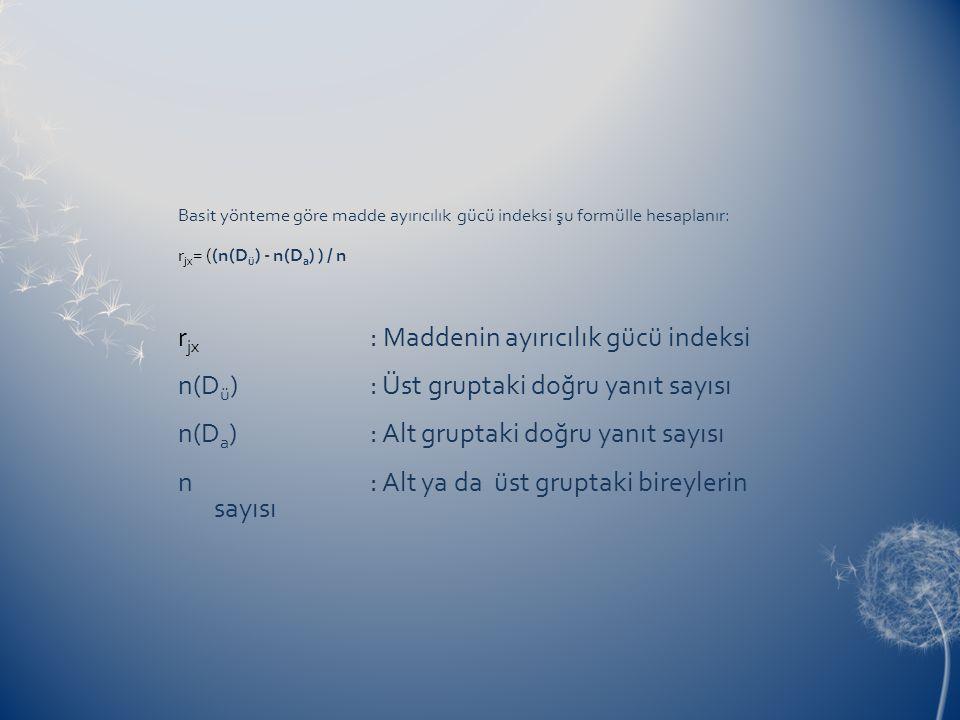 n(Dü) : Üst gruptaki doğru yanıt sayısı