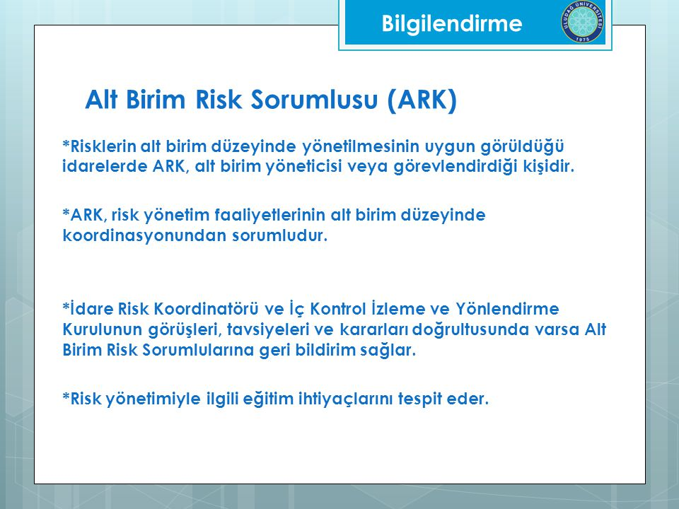 Alt Birim Risk Sorumlusu (ARK)