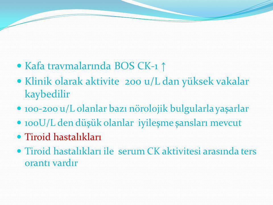 Kafa travmalarında BOS CK-1 ↑