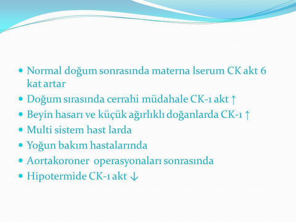 Normal doğum sonrasında materna lserum CK akt 6 kat artar
