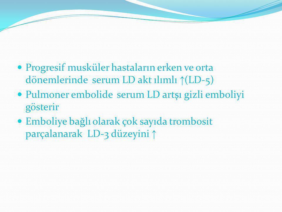 Progresif musküler hastaların erken ve orta dönemlerinde serum LD akt ılımlı ↑(LD-5)