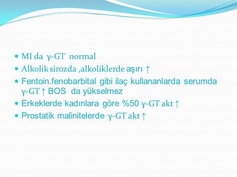 MI da γ-GT normal Alkolik sirozda ,alkoliklerde aşırı ↑ Fentoin.fenobarbital gibi ilaç kullananlarda serumda γ-GT ↑ BOS da yükselmez.