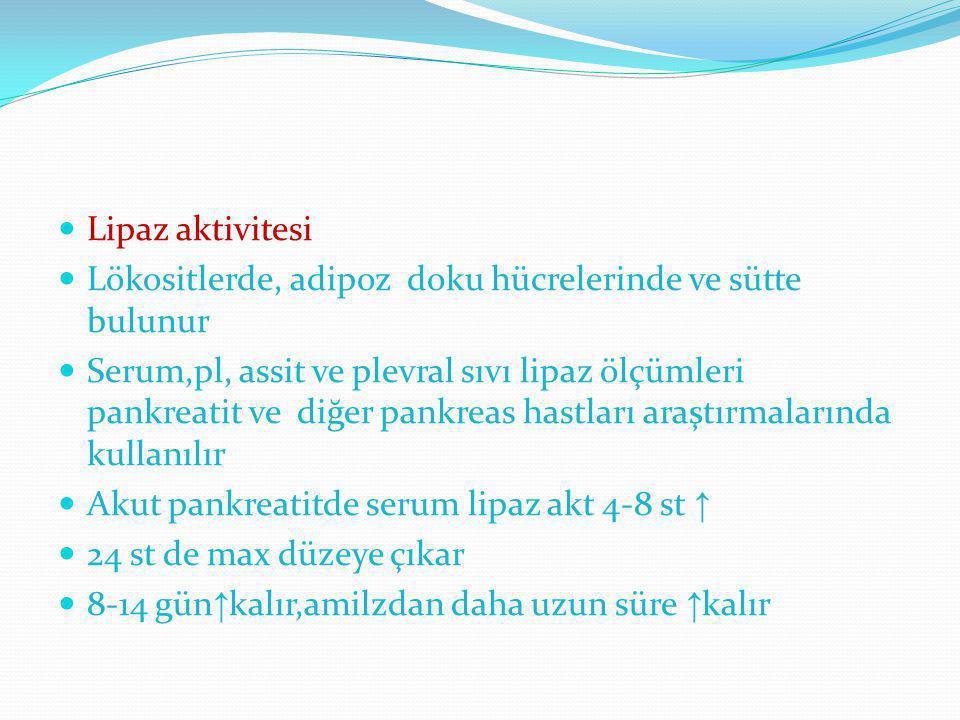 Lipaz aktivitesi Lökositlerde, adipoz doku hücrelerinde ve sütte bulunur.