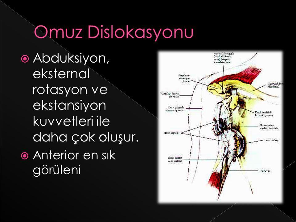 Omuz Dislokasyonu Abduksiyon, eksternal rotasyon ve ekstansiyon kuvvetleri ile daha çok oluşur.
