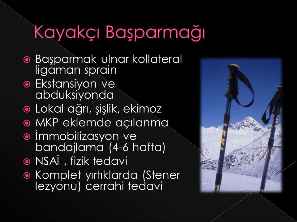 Kayakçı Başparmağı Başparmak ulnar kollateral ligaman sprain