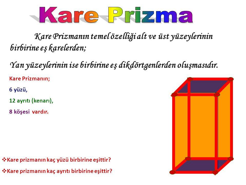 Kare Prizma Kare Prizmanın temel özelliği alt ve üst yüzeylerinin birbirine eş karelerden;