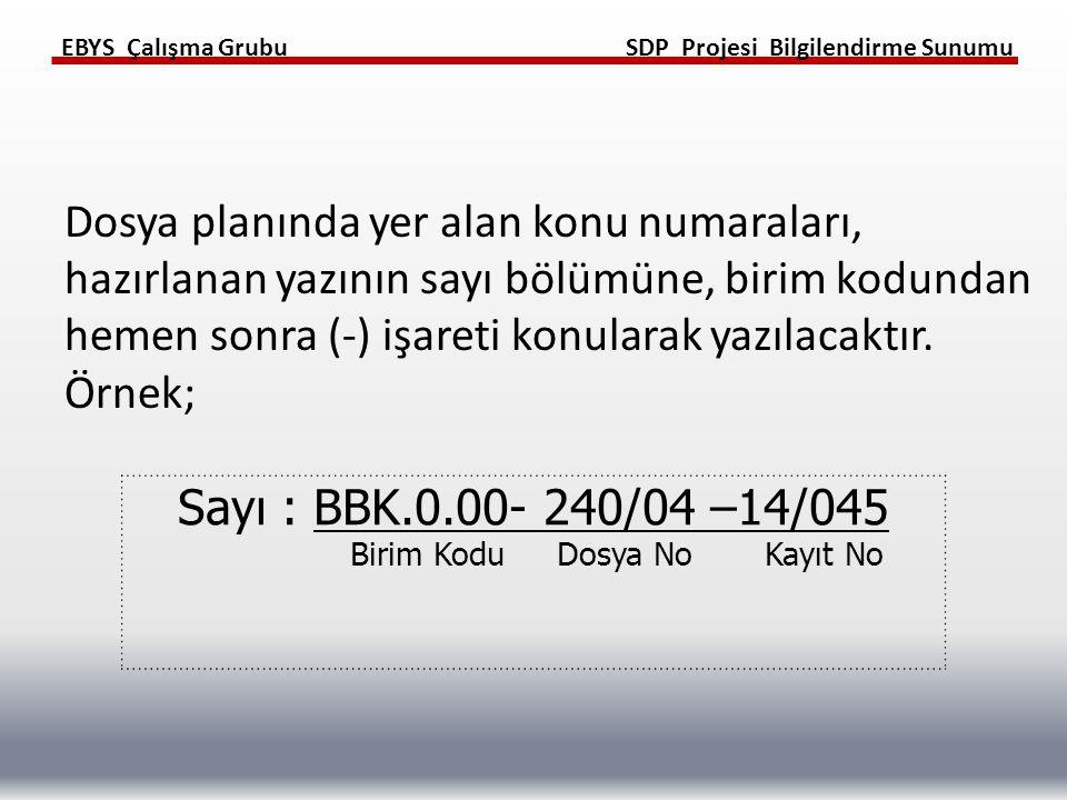 Sayı : BBK.0.00- 240/04 –14/045 Birim Kodu Dosya No Kayıt No