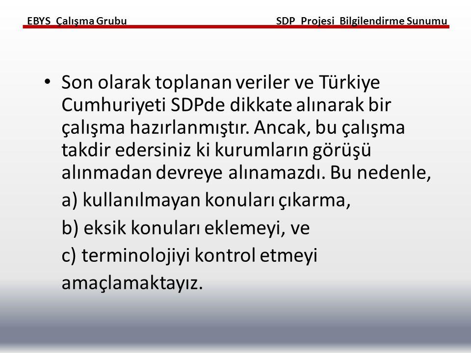 Son olarak toplanan veriler ve Türkiye Cumhuriyeti SDPde dikkate alınarak bir çalışma hazırlanmıştır. Ancak, bu çalışma takdir edersiniz ki kurumların görüşü alınmadan devreye alınamazdı. Bu nedenle,