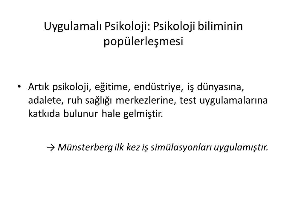 Uygulamalı Psikoloji: Psikoloji biliminin popülerleşmesi