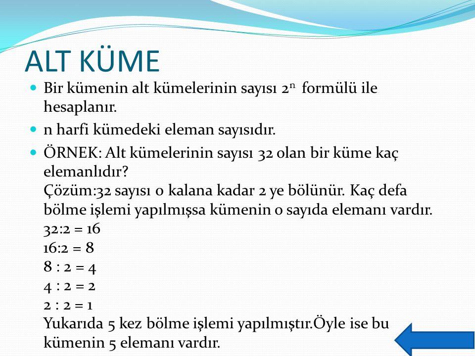 ALT KÜME Bir kümenin alt kümelerinin sayısı 2n formülü ile hesaplanır.