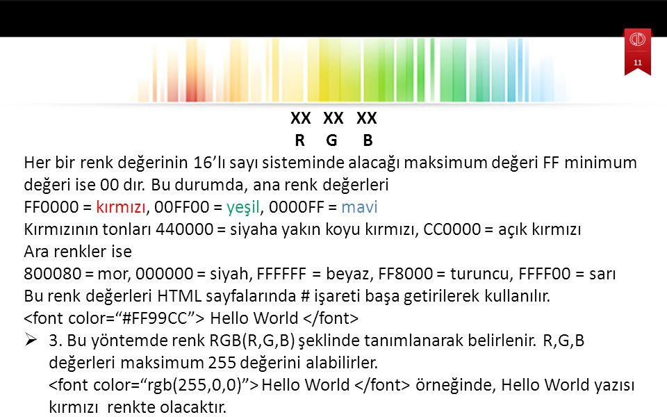 FF0000 = kırmızı, 00FF00 = yeşil, 0000FF = mavi