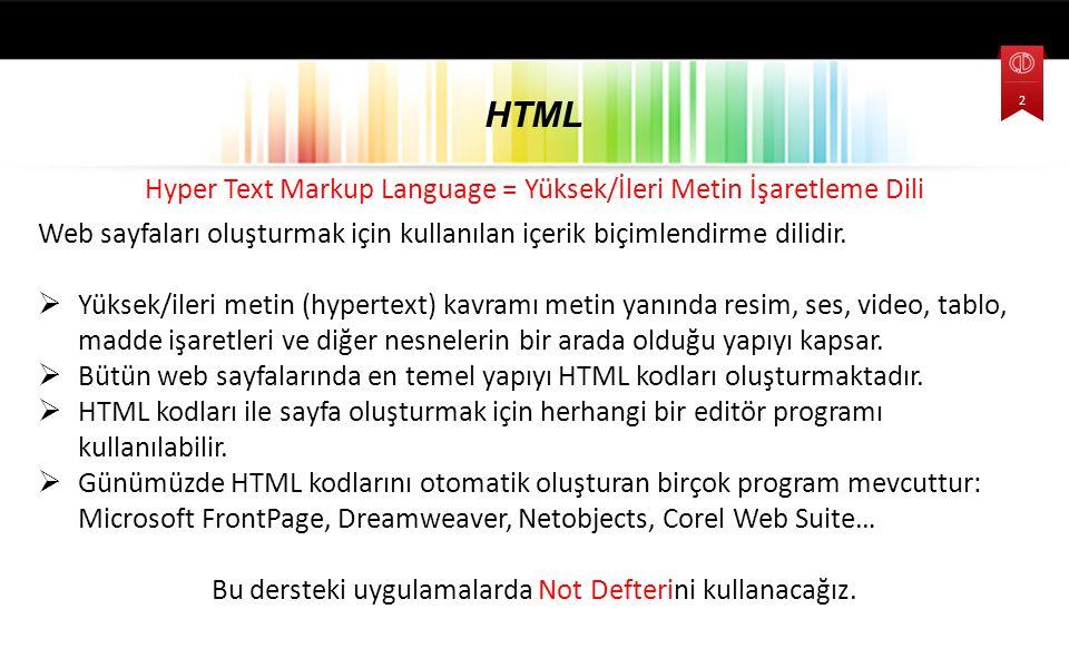 HTML Hyper Text Markup Language = Yüksek/İleri Metin İşaretleme Dili
