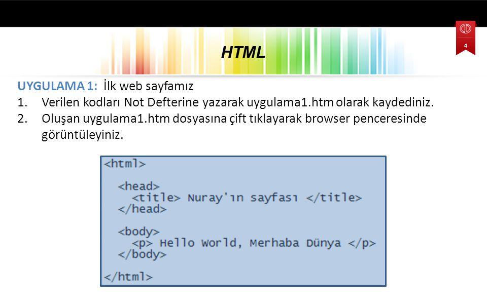 HTML UYGULAMA 1: İlk web sayfamız
