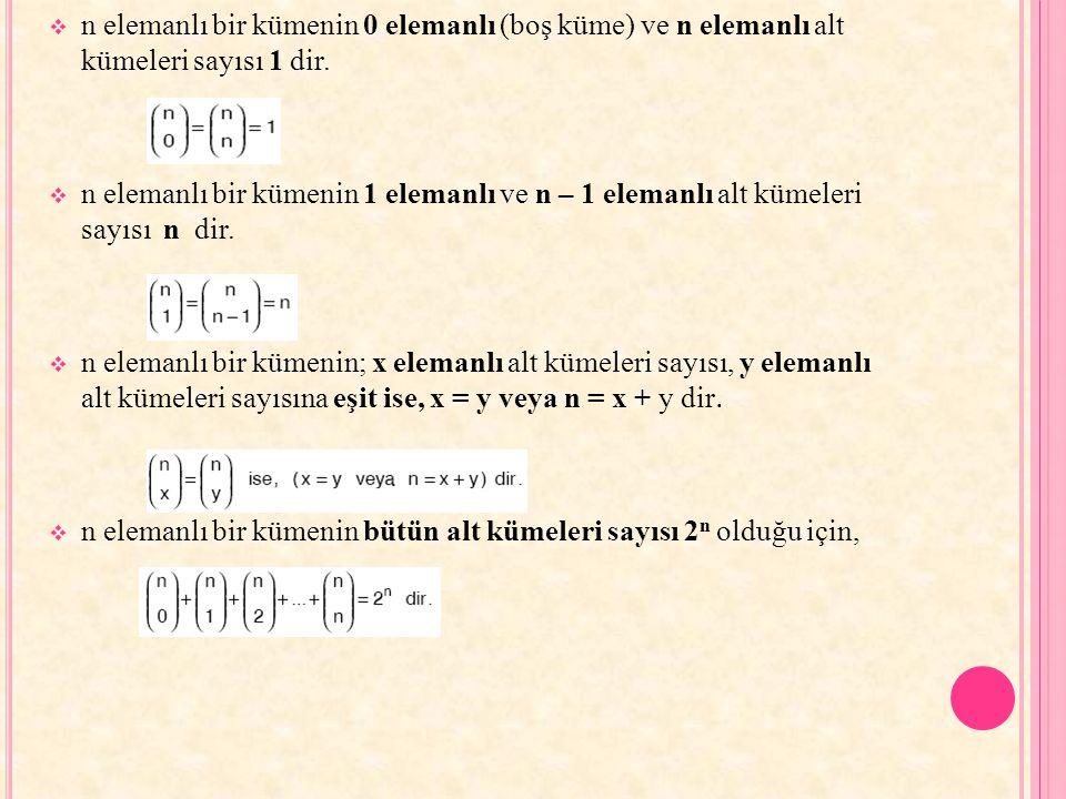 n elemanlı bir kümenin 0 elemanlı (boş küme) ve n elemanlı alt kümeleri sayısı 1 dir.