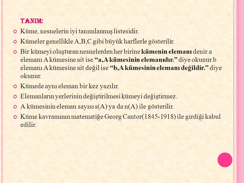 TANIM: Küme, nesnelerin iyi tanımlanmış listesidir. Kümeler genellikle A,B,C gibi büyük harflerle gösterilir.