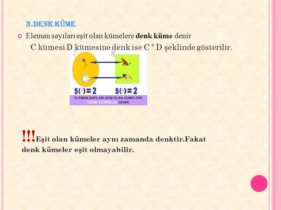 3.Denk Küme Eleman sayıları eşit olan kümelere denk küme denir. C kümesi D kümesine denk ise C º D şeklinde gösterilir.