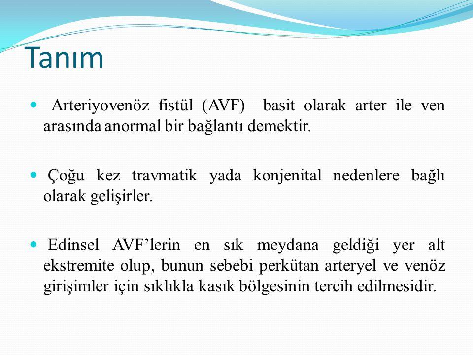 Tanım Arteriyovenöz fistül (AVF) basit olarak arter ile ven arasında anormal bir bağlantı demektir.