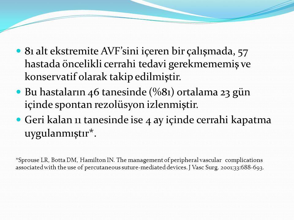81 alt ekstremite AVF'sini içeren bir çalışmada, 57 hastada öncelikli cerrahi tedavi gerekmememiş ve konservatif olarak takip edilmiştir.