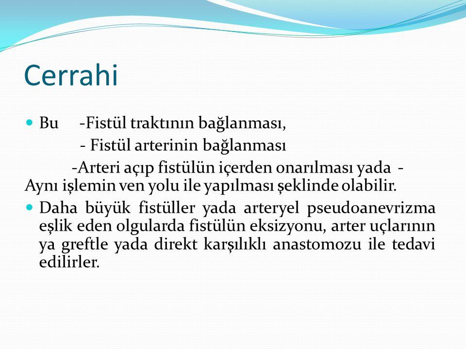 Cerrahi Bu -Fistül traktının bağlanması, - Fistül arterinin bağlanması