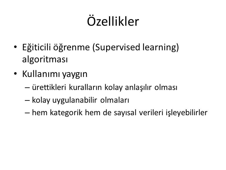 Özellikler Eğiticili öğrenme (Supervised learning) algoritması