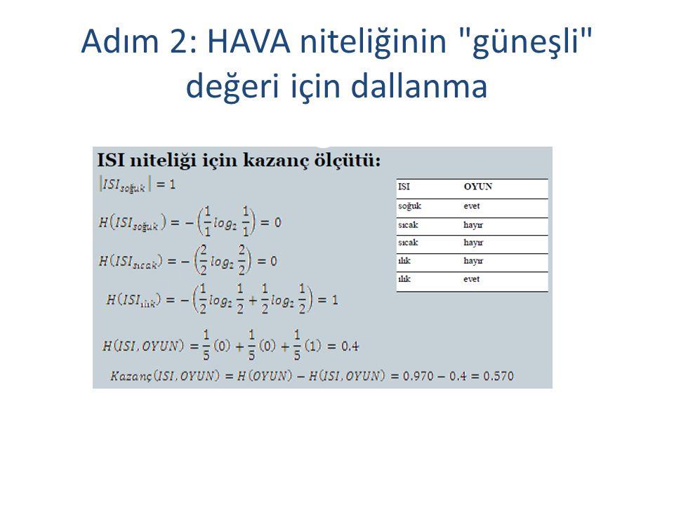 Adım 2: HAVA niteliğinin güneşli değeri için dallanma