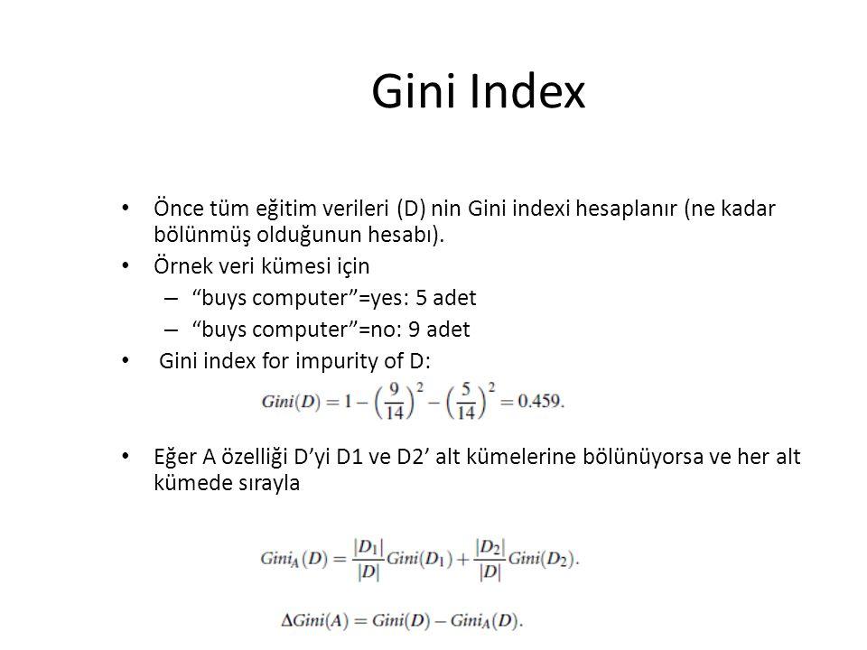 Gini Index Önce tüm eğitim verileri (D) nin Gini indexi hesaplanır (ne kadar bölünmüş olduğunun hesabı).