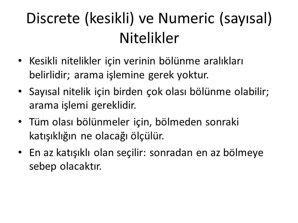 Discrete (kesikli) ve Numeric (sayısal) Nitelikler