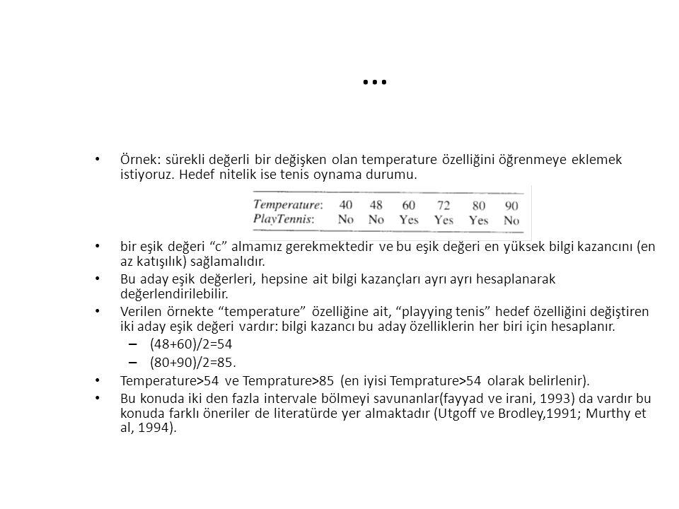 … Örnek: sürekli değerli bir değişken olan temperature özelliğini öğrenmeye eklemek istiyoruz. Hedef nitelik ise tenis oynama durumu.