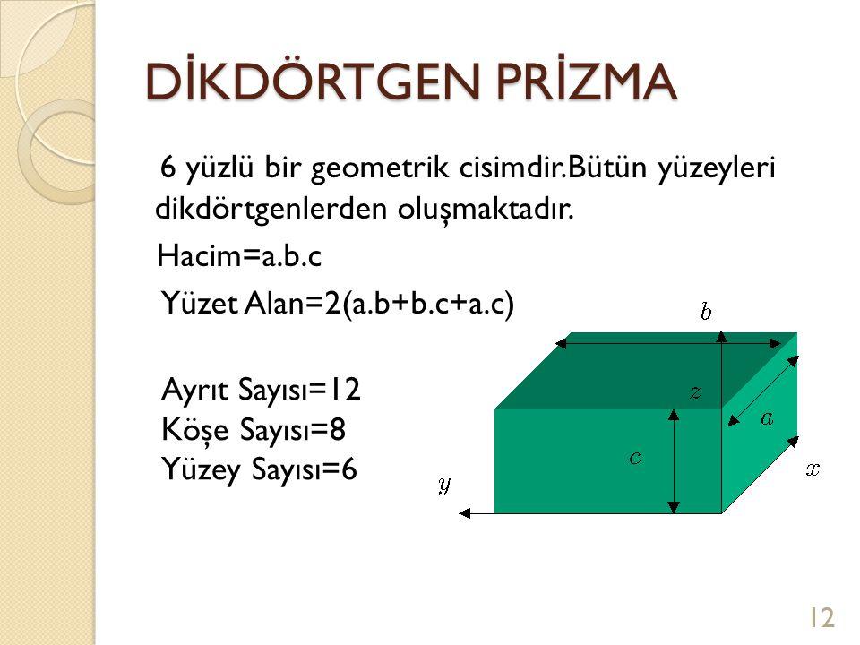 DİKDÖRTGEN PRİZMA 6 yüzlü bir geometrik cisimdir.Bütün yüzeyleri dikdörtgenlerden oluşmaktadır. Hacim=a.b.c.