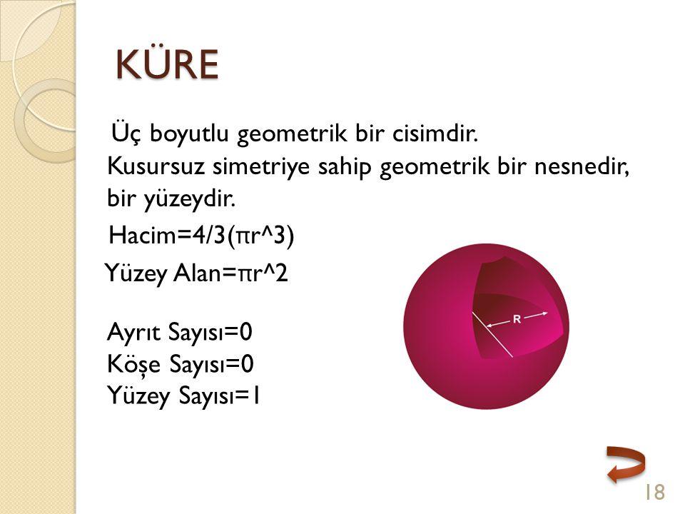 KÜRE Üç boyutlu geometrik bir cisimdir. Kusursuz simetriye sahip geometrik bir nesnedir, bir yüzeydir.