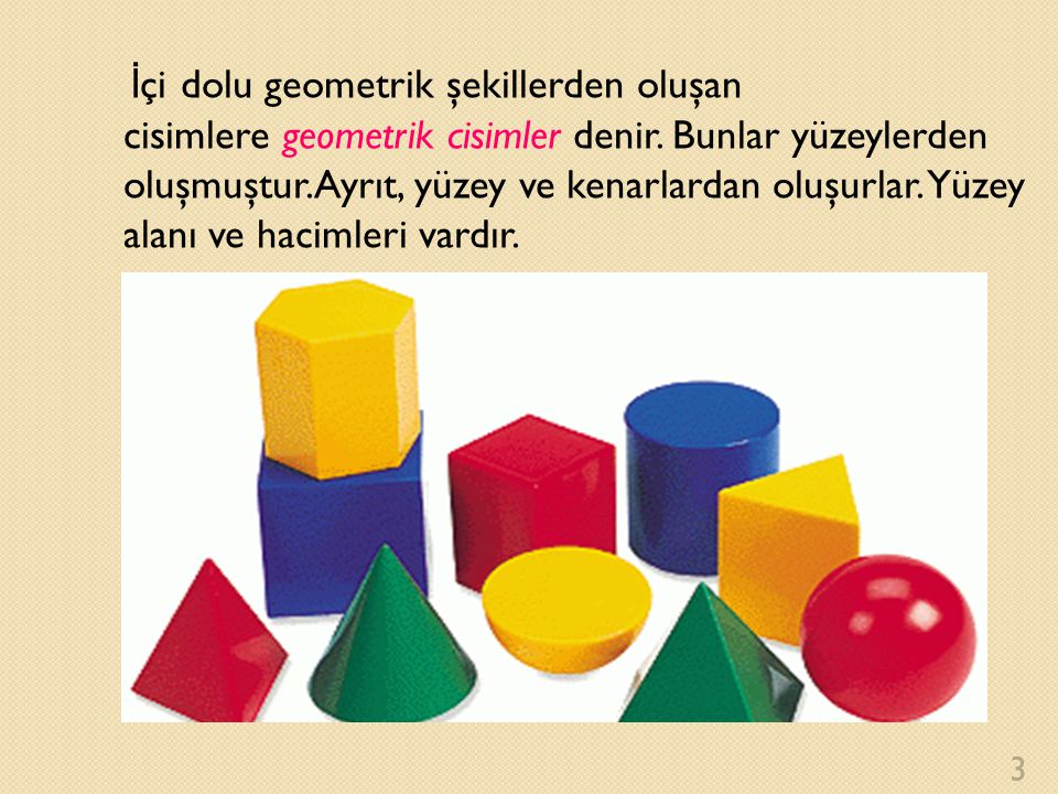 İçi dolu geometrik şekillerden oluşan cisimlere geometrik cisimler denir.