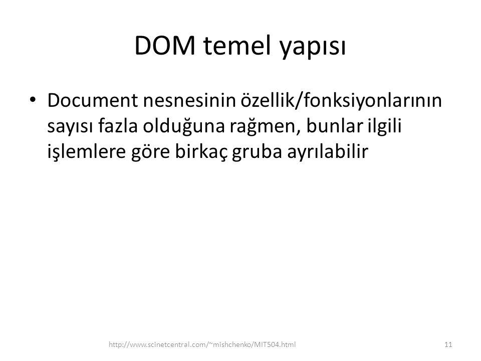 DOM temel yapısı Document nesnesinin özellik/fonksiyonlarının sayısı fazla olduğuna rağmen, bunlar ilgili işlemlere göre birkaç gruba ayrılabilir.