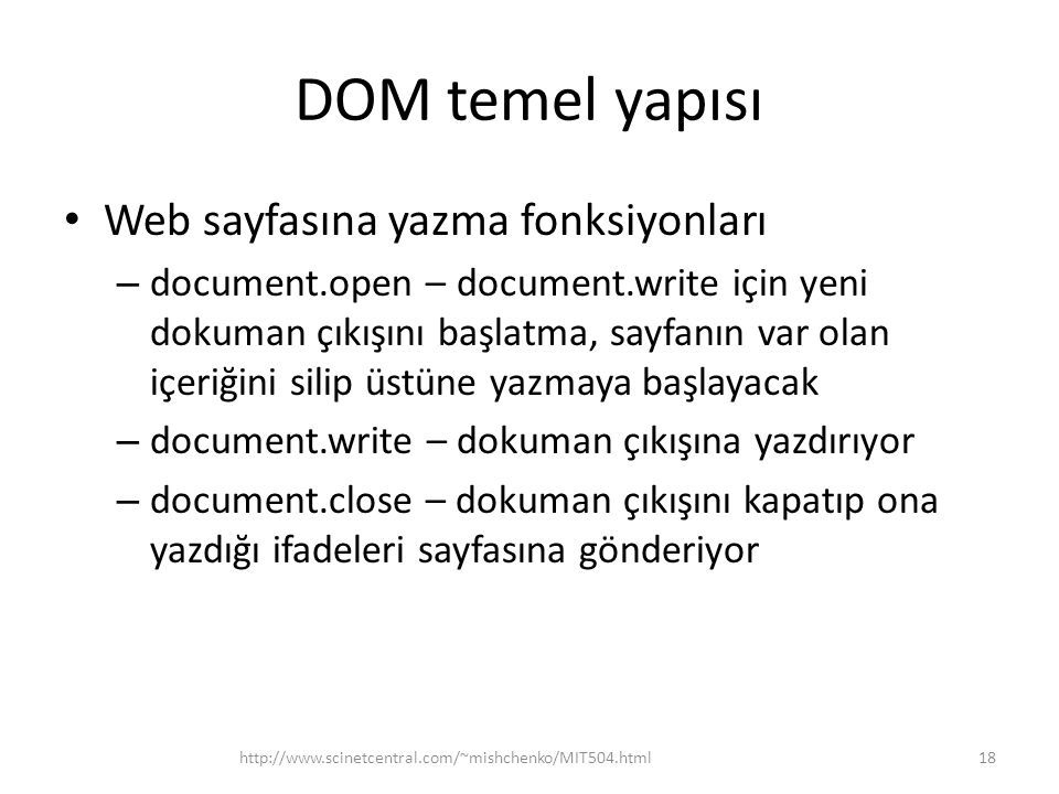 DOM temel yapısı Web sayfasına yazma fonksiyonları