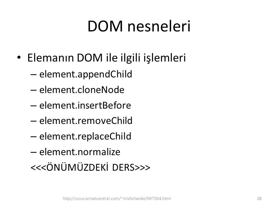 DOM nesneleri Elemanın DOM ile ilgili işlemleri element.appendChild