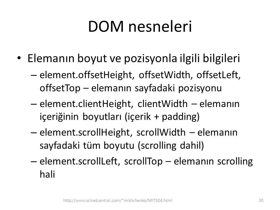 DOM nesneleri Elemanın boyut ve pozisyonla ilgili bilgileri