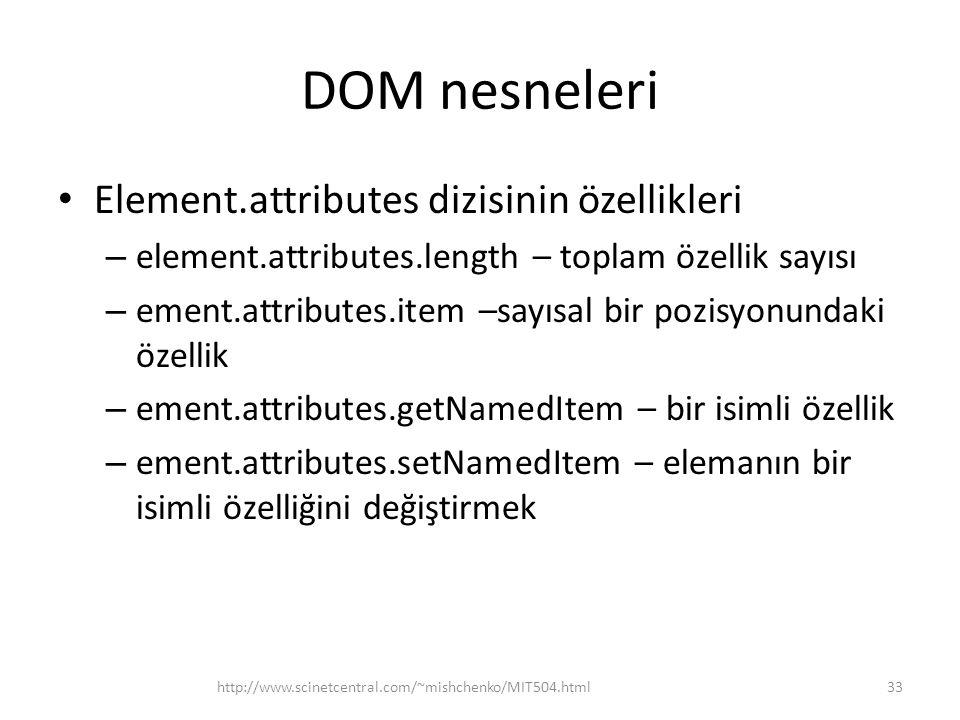 DOM nesneleri Element.attributes dizisinin özellikleri