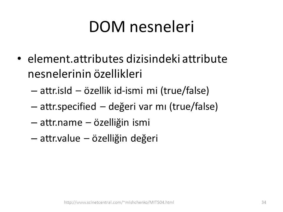DOM nesneleri element.attributes dizisindeki attribute nesnelerinin özellikleri. attr.isId – özellik id-ismi mi (true/false)