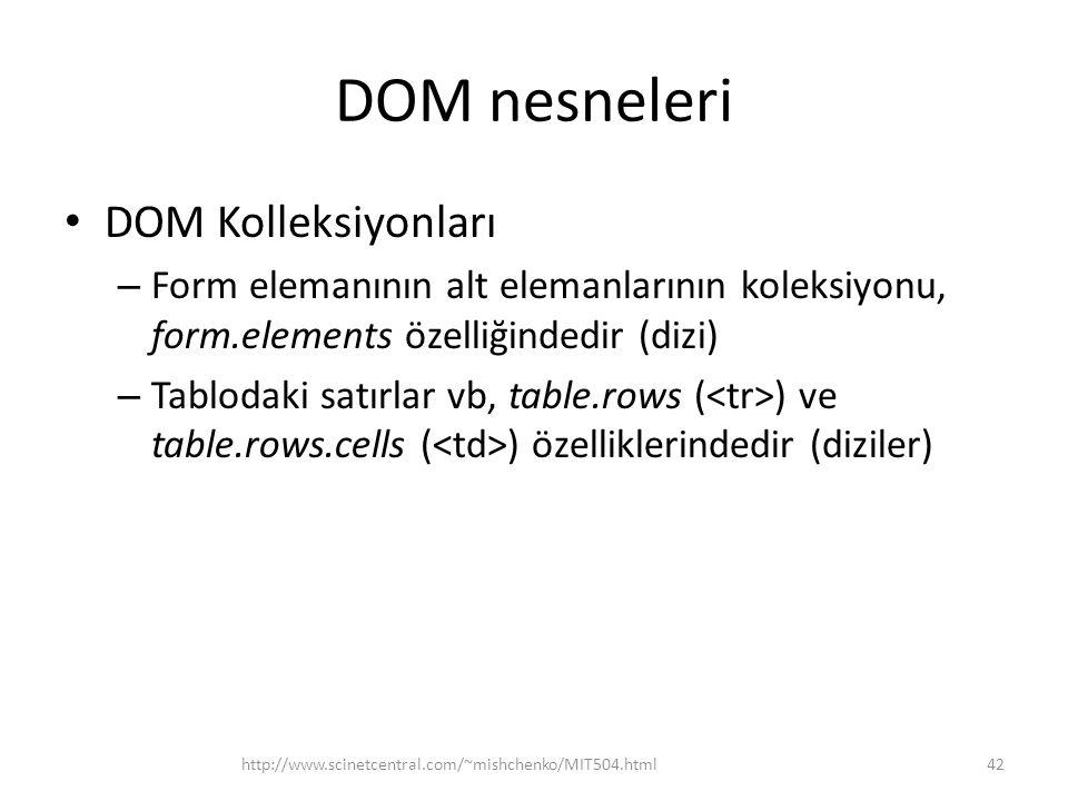 DOM nesneleri DOM Kolleksiyonları