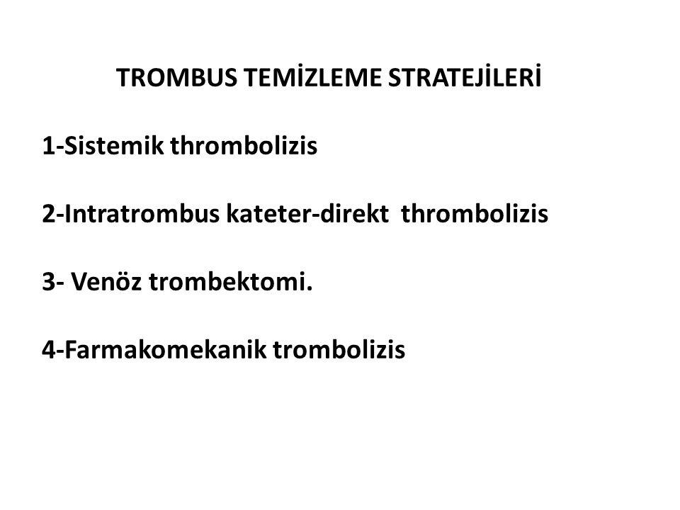 TROMBUS TEMİZLEME STRATEJİLERİ 1-Sistemik thrombolizis 2-Intratrombus kateter-direkt thrombolizis 3- Venöz trombektomi.