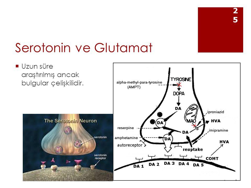 Serotonin ve Glutamat Uzun süre araştırılmış ancak bulgular çelişkilidir.