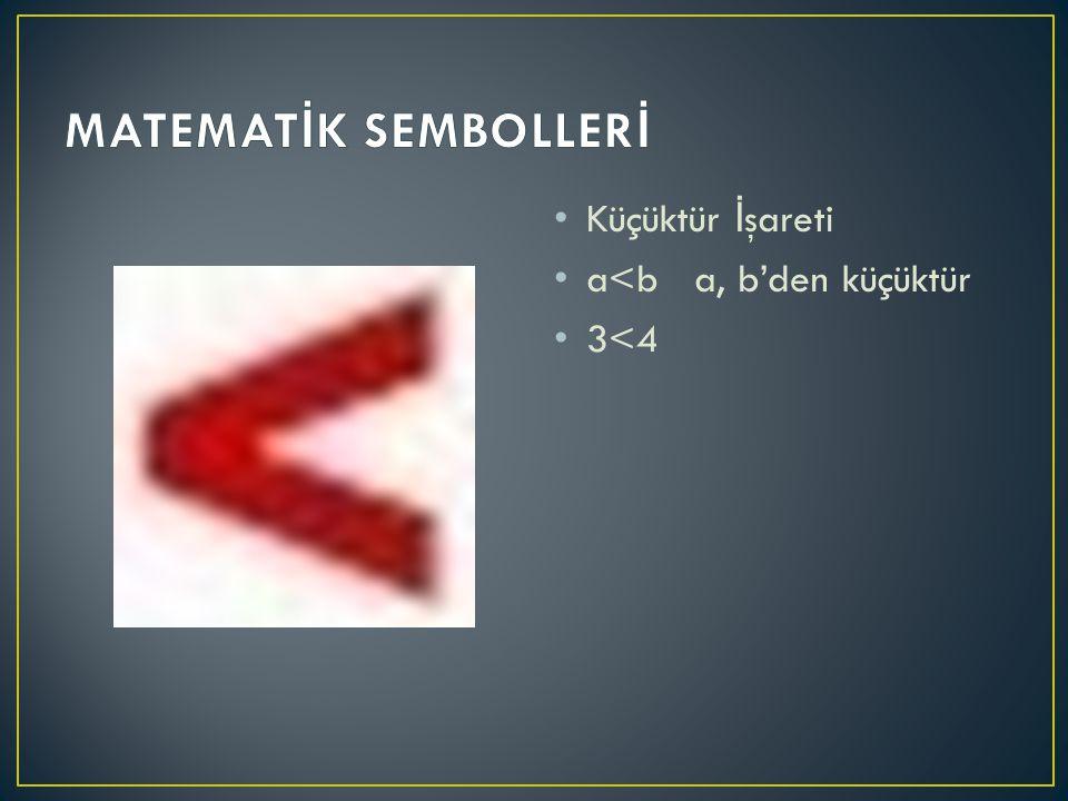 MATEMATİK SEMBOLLERİ Küçüktür İşareti a<b a, b'den küçüktür 3<4