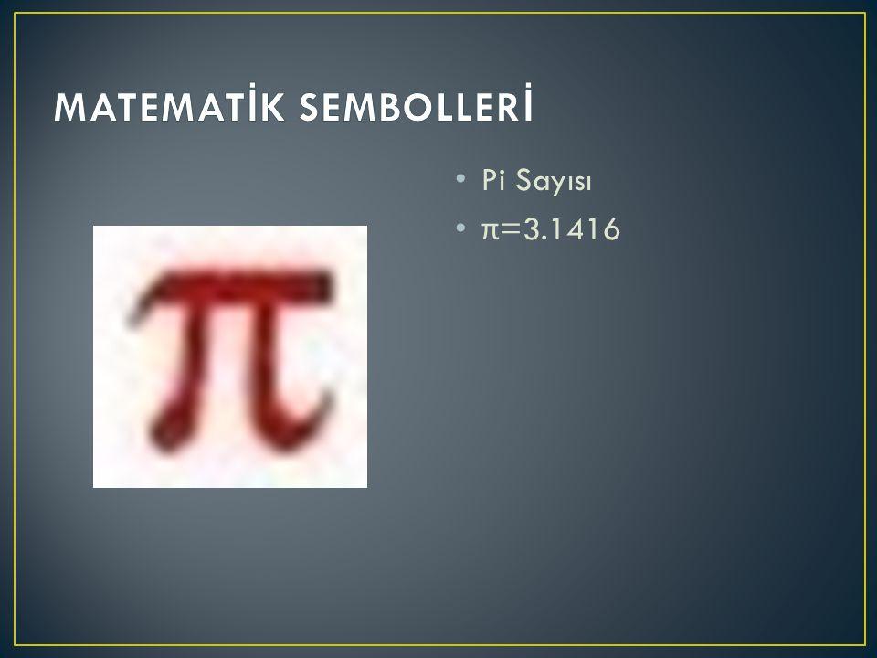 MATEMATİK SEMBOLLERİ Pi Sayısı π=3.1416