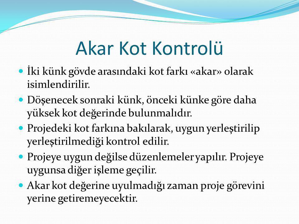 Akar Kot Kontrolü İki künk gövde arasındaki kot farkı «akar» olarak isimlendirilir.